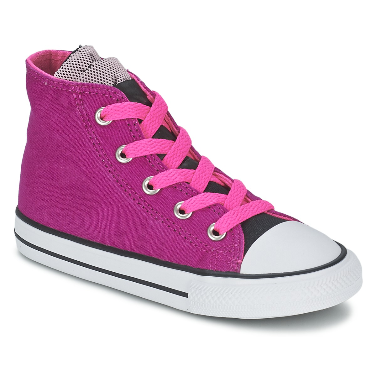 9b18b8c8aff2 Converse ALL STAR PARTY HI PINK SAPPHIRE Neon PINK BLACK Shoes Hi top  trainers Child low