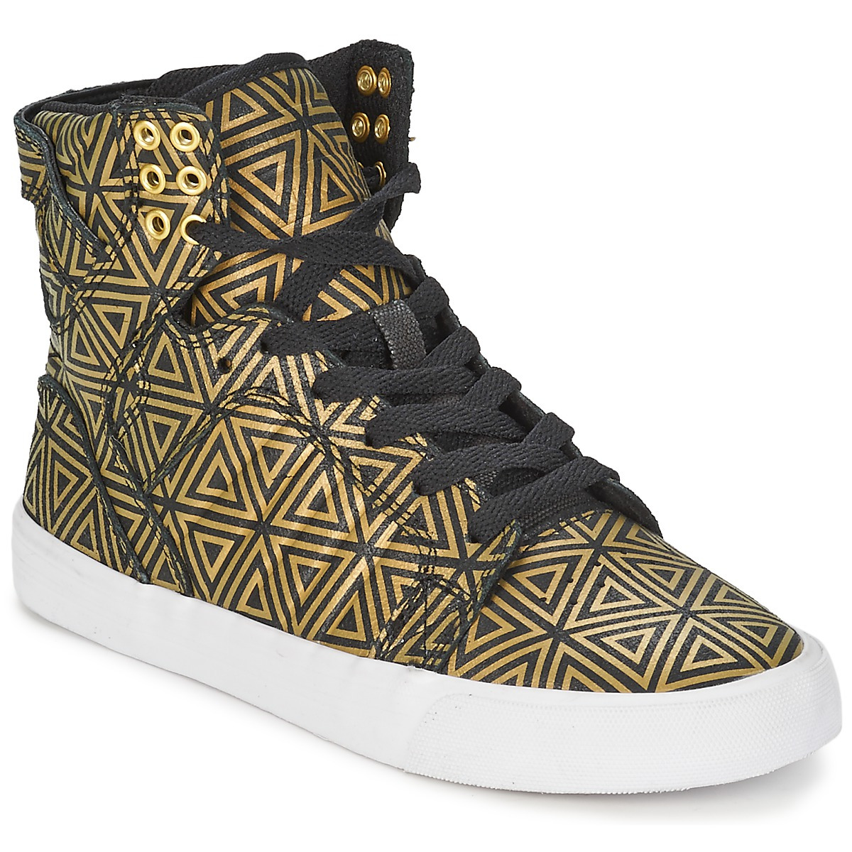 online store 17b2d d1150 Supra SKYTOP Gold Black Shoes Hi top trainers Women lovely