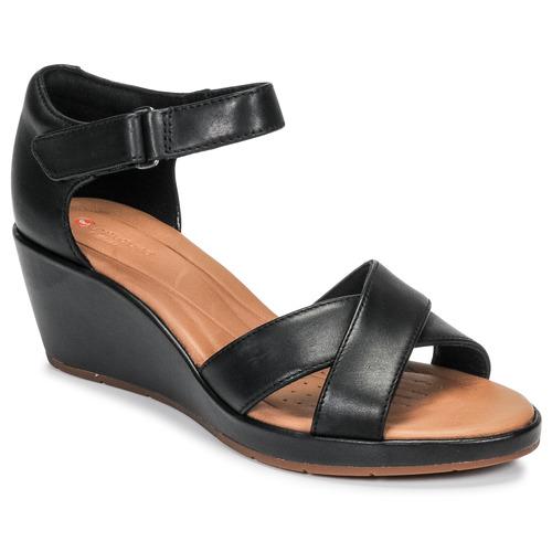 Shoes Women Sandals Clarks UN PLAZA CROSS Black