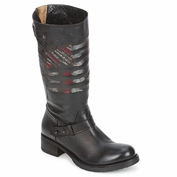 Shoes Women Mid boots Strategia ENRO Black / Printed / Flag