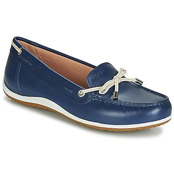 Shoes Women Loafers Geox D VEGA MOC Blue / Nude