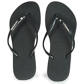 Shoes Women Flip flops Havaianas SLIM LOGO METALLIC & CRYSTAL  black