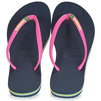 Shoes Women Flip flops Havaianas SLIM BRASIL LOGO Navy / Pink