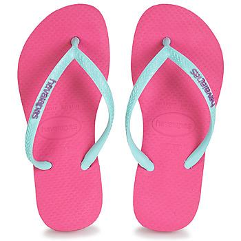 Shoes Girl Flip flops Havaianas HAVAIANAS SLIM LOGO Pink / Blue