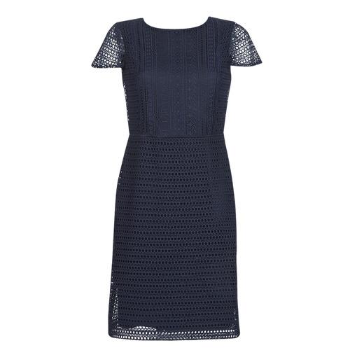 Clothing Women Short Dresses Lauren Ralph Lauren NAVY SHORT SLEEVE DAY DRESS Marine