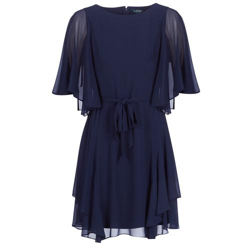 Clothing Women Short Dresses Lauren Ralph Lauren NAVY-3/4 SLEEVE-DAY DRESS Marine