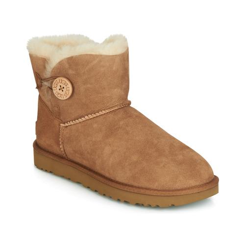 Shoes Women Mid boots UGG Australia MINI BAILEY BUTTON II Camel