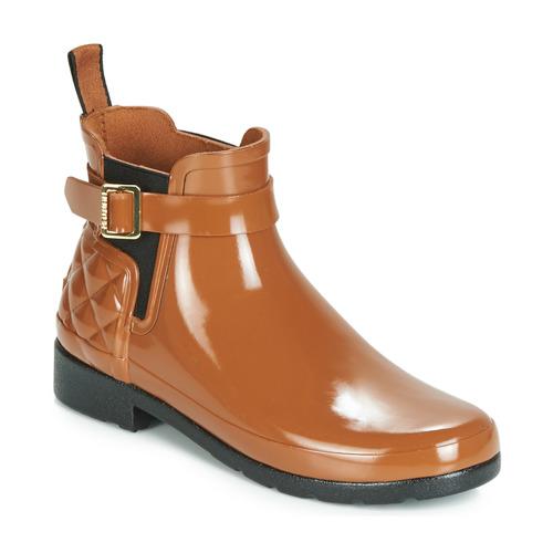 Shoes Women Wellington boots Hunter REFINED GLOSS QUILT CHELSEA Camel