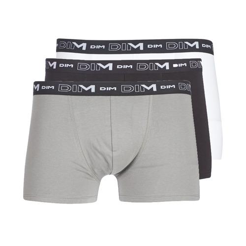 Underwear Men Boxer shorts DIM COTON STRETCH X3 Black / Grey / White