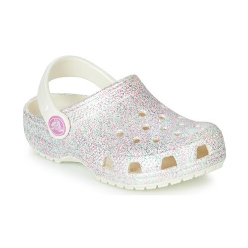 Shoes Girl Clogs Crocs CLASSIC GLITTER CLOG K White