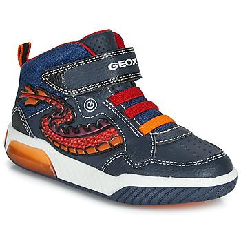 Shoes Boy Hi top trainers Geox J INEK BOY Blue / Red / Led