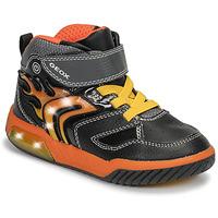 Shoes Boy Hi top trainers Geox J INEK BOY Black / Orange