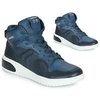 Shoes Boy Hi top trainers Geox J XLED BOY Blue / Led