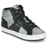 Shoes Girl Hi top trainers Geox J KALISPERA GIRL Black / Silver