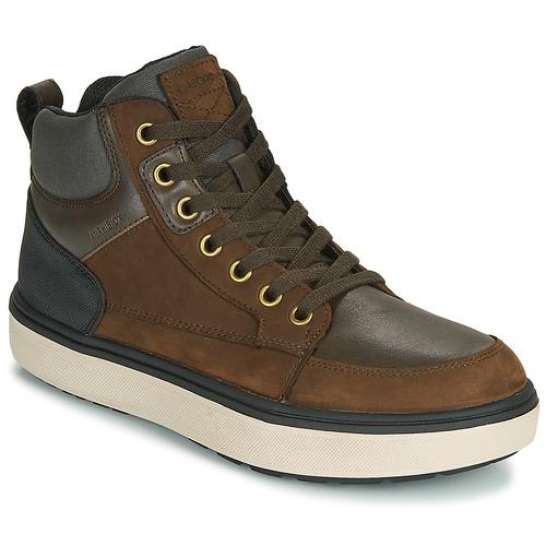 Shoes Boy Hi top trainers Geox J MATTIAS B BOY ABX Cafe / Black