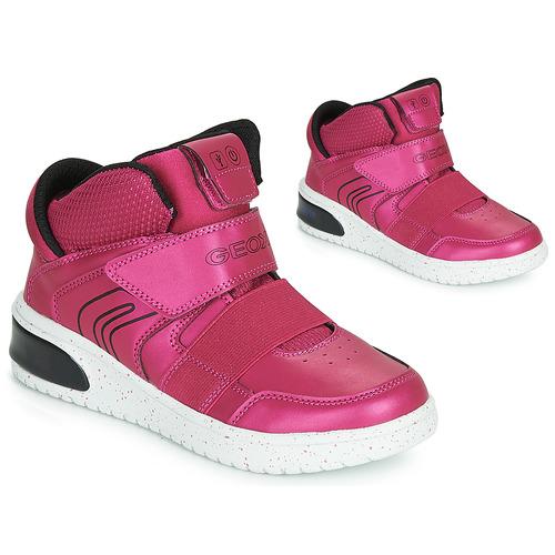 Shoes Girl Hi top trainers Geox J XLED GIRL Pink / Fuschia / Black / Led