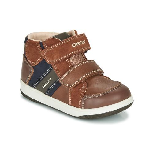 Shoes Boy Hi top trainers Geox B NEW FLICK BOY Brown / Blue