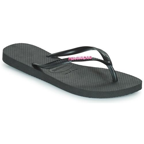 Shoes Women Flip flops Havaianas SLIM LOGO METALLIC Black