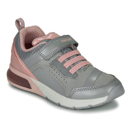 Shoes Girl Low top trainers Geox J SPACECLUB GIRL C Grey / Pink