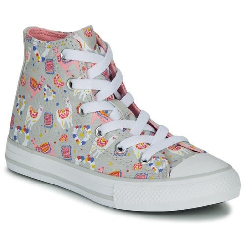 Shoes Girl Hi top trainers Converse CHUCK TAYLOR ALL STAR LLAMA HI Grey / Multicoloured