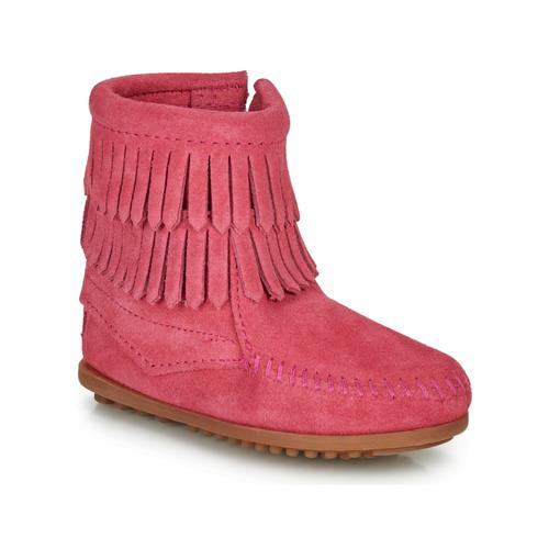 Shoes Girl Mid boots Minnetonka DOUBLE FRINGE SIDE ZIP BOOT Pink