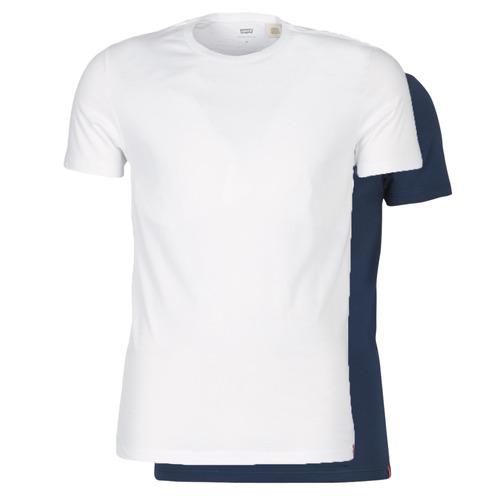 Clothing Men short-sleeved t-shirts Levi's SLIM 2PK CREWNECK 1 Marine / White