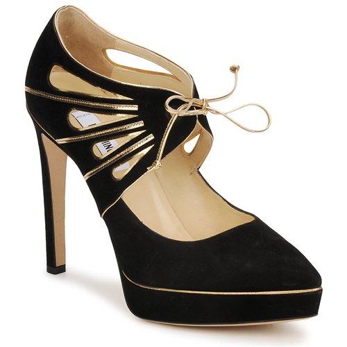 Shoes Women Heels Moschino MA1004 Black gold