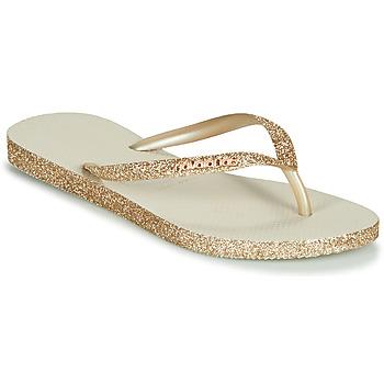 Shoes Women Flip flops Havaianas SLIM SPARKLE Beige / Gold