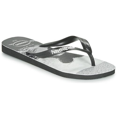 Shoes Men Flip flops Havaianas TOP PHOTOPRINT Black / White