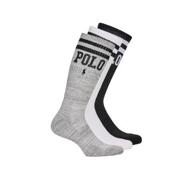 Shoe accessories Men Socks Polo Ralph Lauren 3PK DBLE BAR-CREW-3 PACK White / Grey / Black