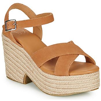 Shoes Women Sandals Superdry HIGH ESPADRILLE SANDAL Cognac
