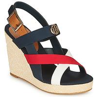 Shoes Women Sandals Tommy Hilfiger BASIC HARDWARE HIGH WEDGE SANDAL Blue / White / Red