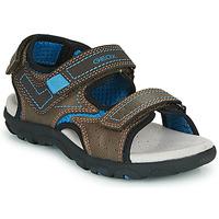 Shoes Boy Outdoor sandals Geox JR SANDAL STRADA Brown / Blue