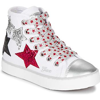 Shoes Girl Hi top trainers Geox JR CIAK GIRL White / Red / Black