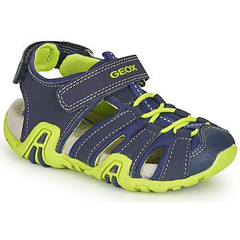 Shoes Boy Outdoor sandals Geox B SANDAL KRAZE Marine / Green
