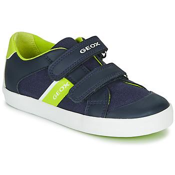 Shoes Boy Low top trainers Geox B GISLI BOY Marine / Green