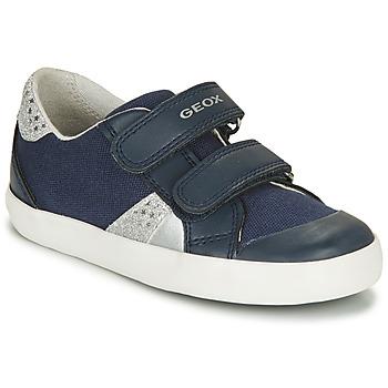Shoes Girl Low top trainers Geox B GISLI GIRL Marine / Silver