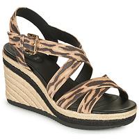 Shoes Women Sandals Geox D PONZA Brown / Black