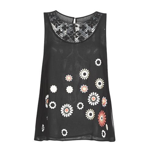 Clothing Women Tops / Sleeveless T-shirts Desigual TEBAS Black