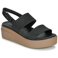 Shoes Women Sandals Crocs CROCS BROOKLYN LOW WEDGE W Black / Camel