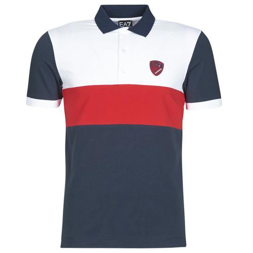 Clothing Men short-sleeved polo shirts Emporio Armani EA7 SEA WORLD ST TROPEZ Marine / White / Red