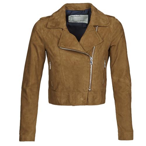 Clothing Women Leather jackets / Imitation leather Oakwood PHOEBE Cognac / Suede