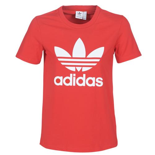Clothing Women Short-sleeved t-shirts adidas Originals TREFOIL TEE Red