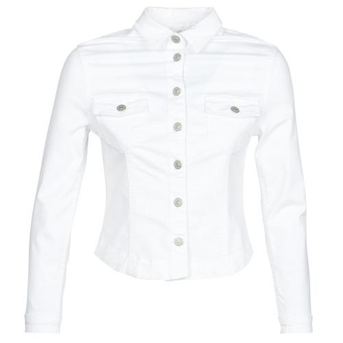 Clothing Women Denim jackets Le Temps des Cerises LILLY White