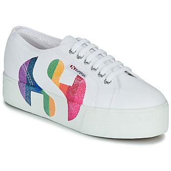Shoes Women Low top trainers Superga 2790-COTWPRINTEDLOGOGLITTER White
