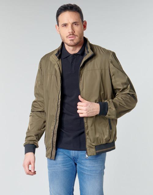 Clothing Men Jackets Geox TEVERE BOMBER Green / Bronze