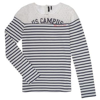 Clothing Girl Long sleeved tee-shirts Ikks DELLYSE White / Black