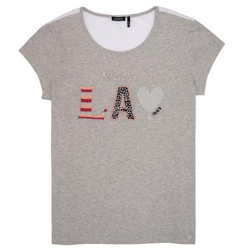 Clothing Girl short-sleeved t-shirts Ikks LILOUSH Grey