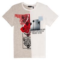 Clothing Boy short-sleeved t-shirts Ikks RULIO Beige / White