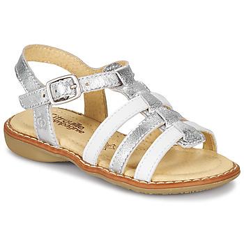 Shoes Girl Sandals Citrouille et Compagnie GROUFLA Silver / White